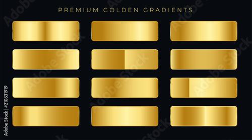 Photo  premium golden gradients swatches set