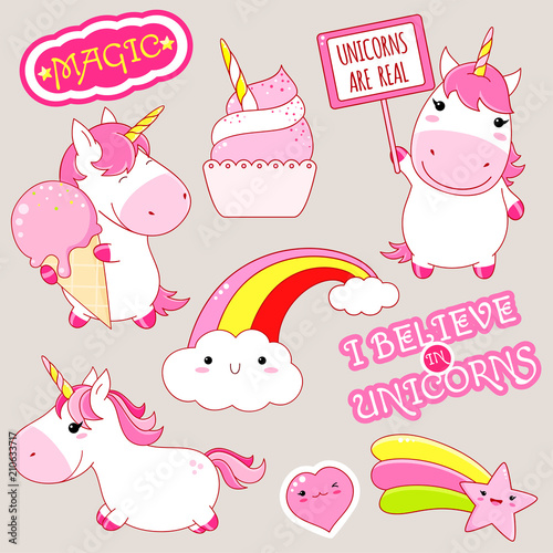 Set of cute unicorns stickers in kawaii style Canvas Print