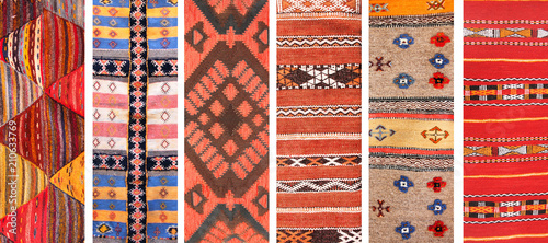 Set of banners with textures of berber traditional wool carpets Wallpaper Mural