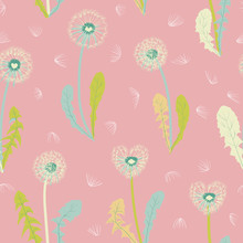 Seamless Dandelion Pattern, Vector Plant And Seeds Illustration On Pink Background