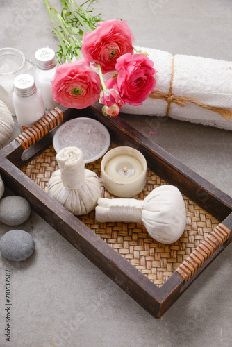 Foto op Canvas Spa Spa setting on gray background