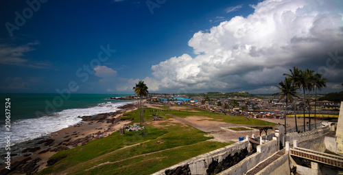 Poster Bleu nuit Landscape view from the roof of Elmina castle and fortress, Ghana
