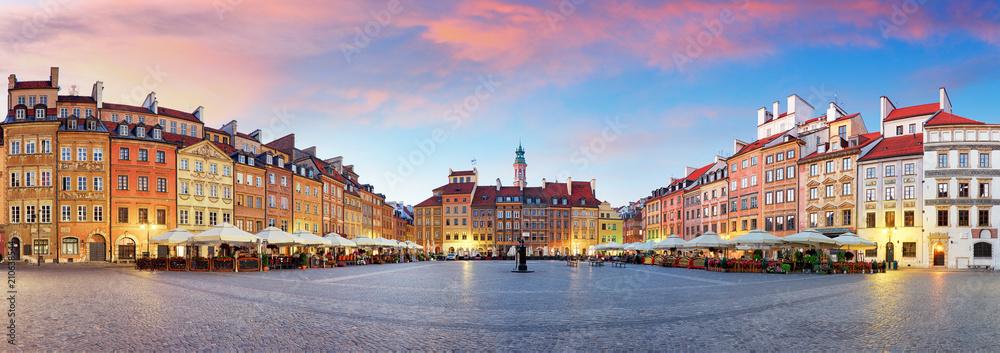 Obraz Panorama of Warsaw odl town square, Rynek Starego Miasta, Poland fototapeta, plakat