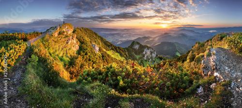 Foto auf Gartenposter Hugel Landcape of mountain at sunset panorama from peak Velky Choc, Slovakia