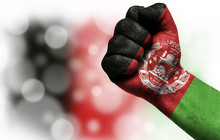 Flag Of Afghanistan Painted On Male Fist,strength