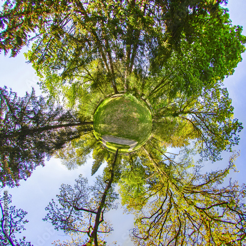 Little Planet. Spherical 360 degrees seamless panorama view in Spherical projection, panorama of natural landscape in Germany.