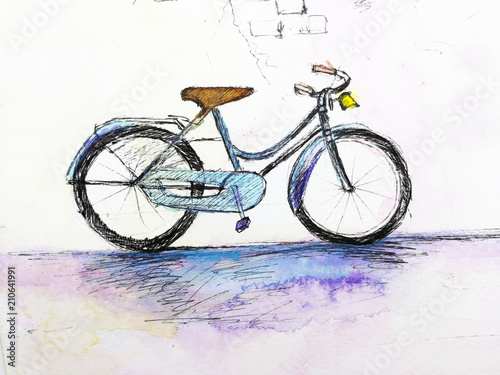 Foto op Plexiglas Fiets watercolor hand drawn bicycle against the wall.