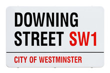 Downing Street Sign, London, United Kingdom. Cut Out.