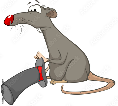 Spoed Foto op Canvas Babykamer Illustration of a Cute Rat. Cartoon Character