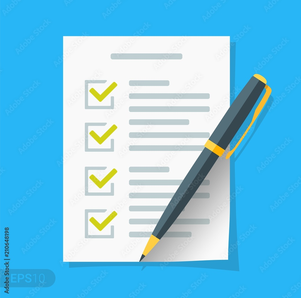 Fototapeta New Checklist flat icon. Document with green ticks checkmarks. Checklist and pen. Application form, complete tasks, to-do list, survey concepts in EPS 10 format Vector sign