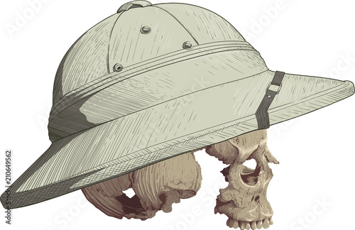Foto  Skull in Cork Helmet