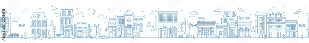 Fototapety, obrazy: Monochrome seamless urban landscape with city street or district. Cityscape with residential houses and shops drawn with contour lines on white background. Vector illustration in lineart style.