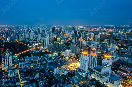 Photo  at night on Baiyoke Tower 2 is a beautiful Aerial view highway interchanged night view ,long exposure of Bangkok Canvas Print