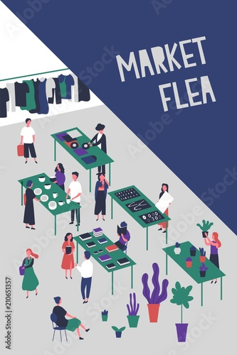 flyer or poster template for flea market or rag fair with people