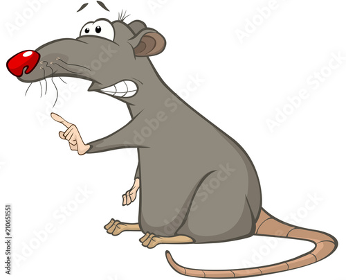 Poster Baby room Illustration of a Cute Rat. Cartoon Character