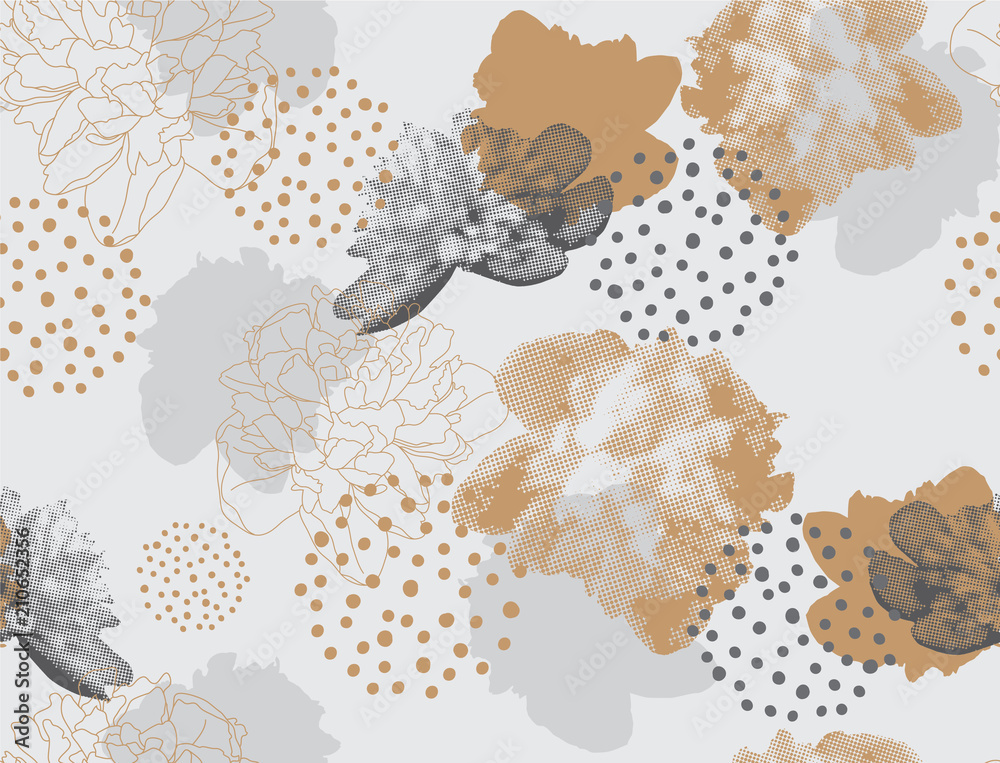 Fototapeta Modern floral pattern in a halftone style. Seamless vector ornament with flowers and geometric shapes. Peonies on a gray background