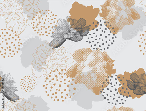 Fototapeta Modern floral pattern in a halftone style. Seamless vector ornament with flowers and geometric shapes. Peonies on a gray background obraz