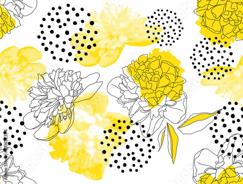 Fototapeta Seamless vector pattern with yellow peonies and geometric shapes on a white background. Trendy floral pattern in a halftone style. obraz