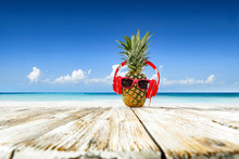 Pineapple On Beach And Summer Time