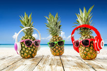 Pineapple On Beach And Summer ...