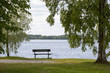 Empty bench on the lakeside. Beautiful view to the sea or lake. Single tree next to the chair. Finnish summer evening.