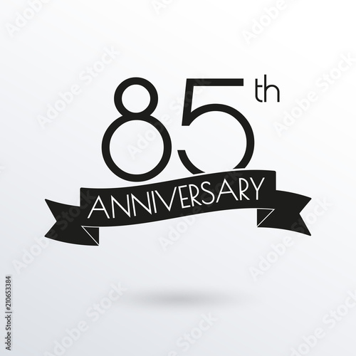 85 Years Anniversary Logo With Ribbon 85th Celebration Label Design Element For Birthday