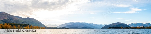 Recess Fitting Light blue Panorama view of Lake Wanaka at sunset in Autumn season.