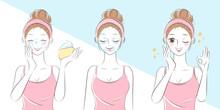 Cartoon Woman Wash Face