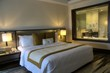beautiful luxurious bedroom, condominium, apartment with double bed and pillow
