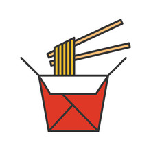 Chinese Noodles In Paper Box And Chopsticks Color Icon