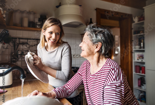 An elderly grandmother with an adult granddaughter at home, washing the dishes Canvas Print