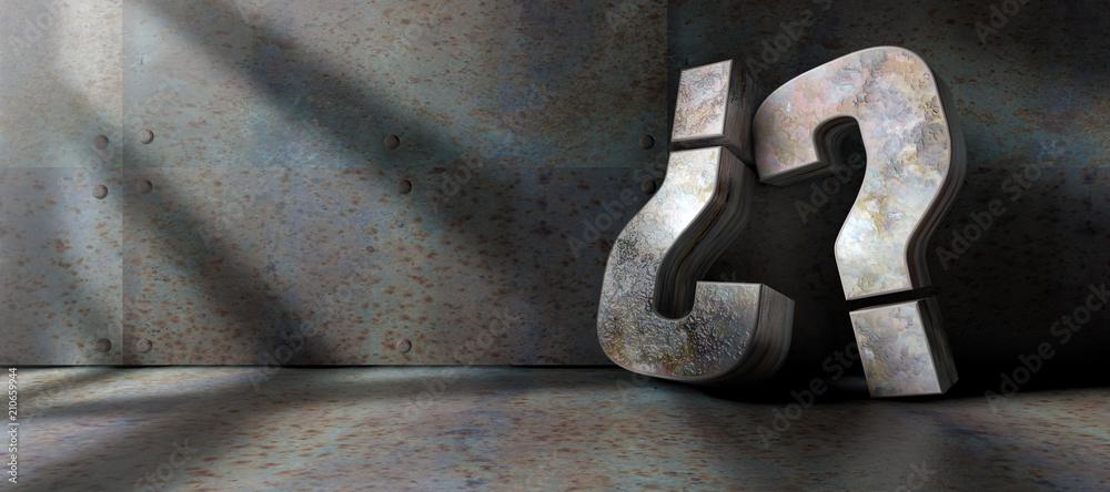 Fototapeta Signos de interrogación en interior oscuro.Suelo y pared de metal.Concepto de dudas,problemas y soluciones