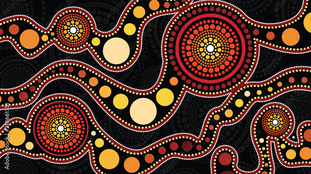 Fototapety, obrazy: Aboriginal art vector background, Connection concept
