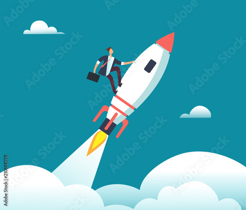 Obraz Successful happy businessman flying on rocket to goal. Leadership, start-up, growth and opportunity vector business cartoon concept - fototapety do salonu