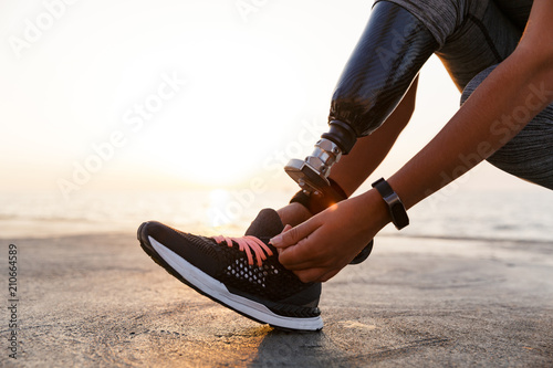 Close up of athlete woman with prosthetic leg Poster Mural XXL