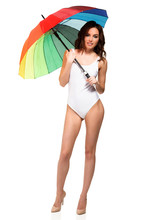 Pretty Girl In White Swimsuit ...