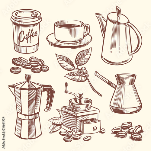 Photo Hand drawn coffee cup, beans, leaves, coffeepot and coffee grinder vector illust