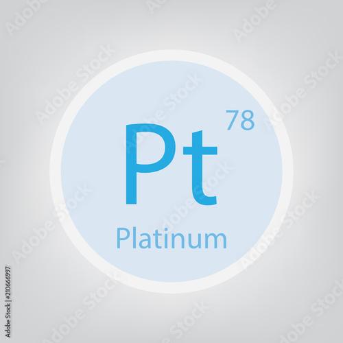 Platinum Pt Chemical Element Icon Vector Illustration Buy This