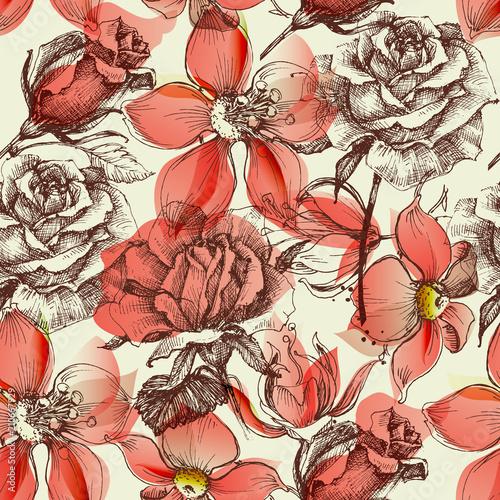 Tapety Vintage czerwonych-roz-bezszwowy-deseniowy-retro-styl