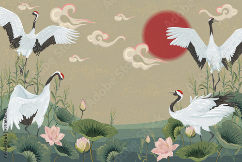 Photo  background with japanese cranes at sunset