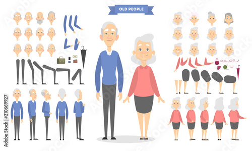 Old couple characters set.