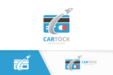 Vector Credit Card And Rocket Logo Combination. Gift And Airplane Symbol Or Icon. Unique Discount And Flight Logotype Design Template.