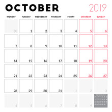 Calendar Planner For October 2019. Week Starts On Monday. Printable Vector Stationery Design Template