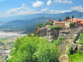 Fototapeta na wymiar Meteora Rocks and monasteries of a meteor Greece, beautiful monasteries on tops of rocks. Kalampaka town