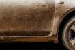 Leinwanddruck Bild - Asphalt on a white car difficult to clean dirty car,