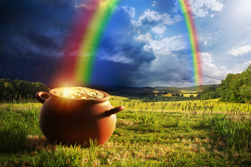 Pot full of gold at the end of the rainbow