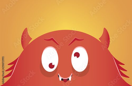 Платно Cartoon monster face. Funny monster. Vector illustration.