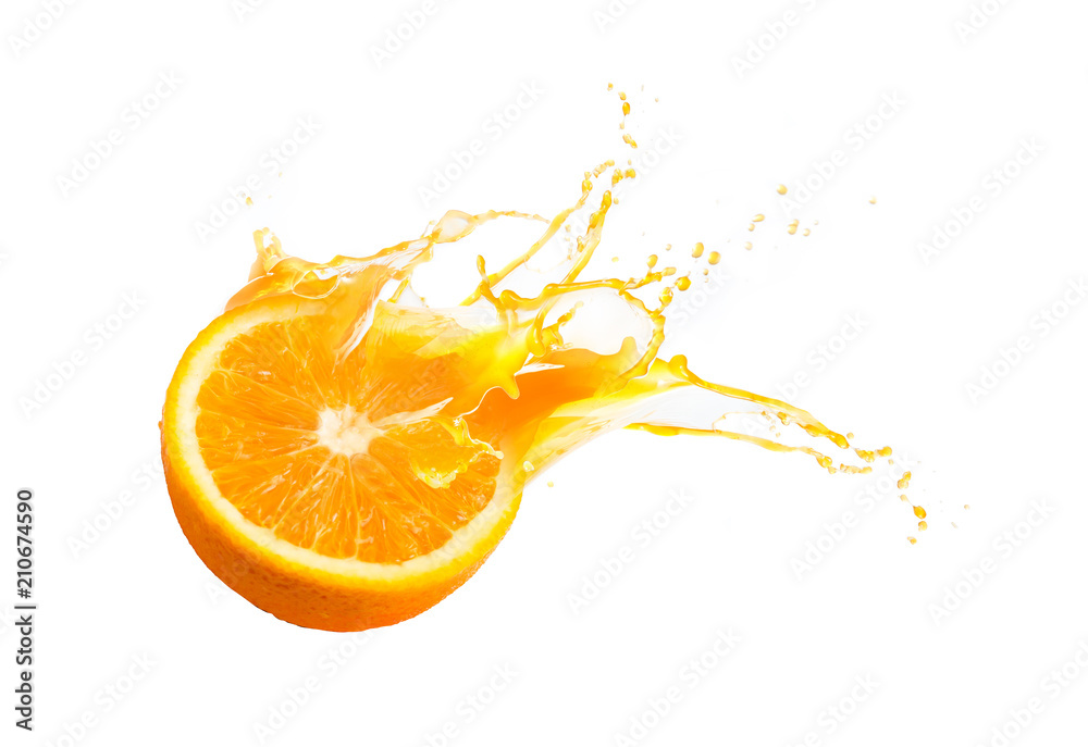 Fototapeta Collection of Fresh half of ripe orange fruit floation with orange juice splash isolated on white background