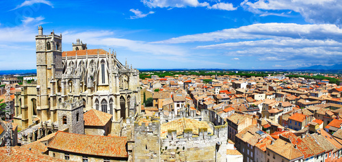 Narbonne , panoramic view with Cathedral of Saint-Just. south France