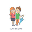 Summer couple. Cartoon flat vector illustration of young girl and boy standing with umbrella, hugging and looking to each other. Smiling teenagers isolated on white background